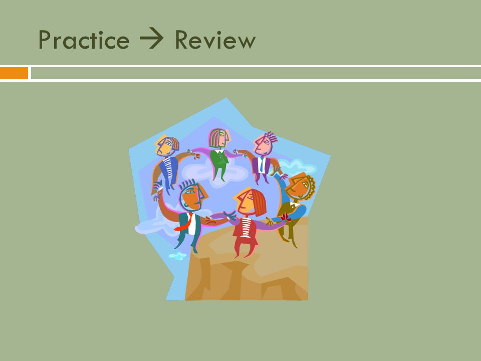 Practice  Review Objectives for instruction and expected results and/or skills developed from learning.