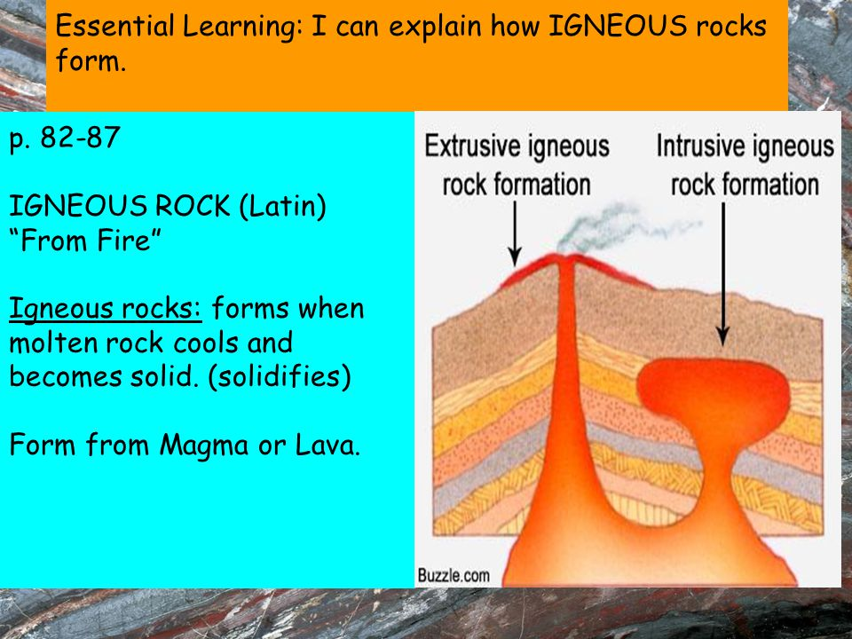 Essential Learning: I can explain how IGNEOUS rocks form.