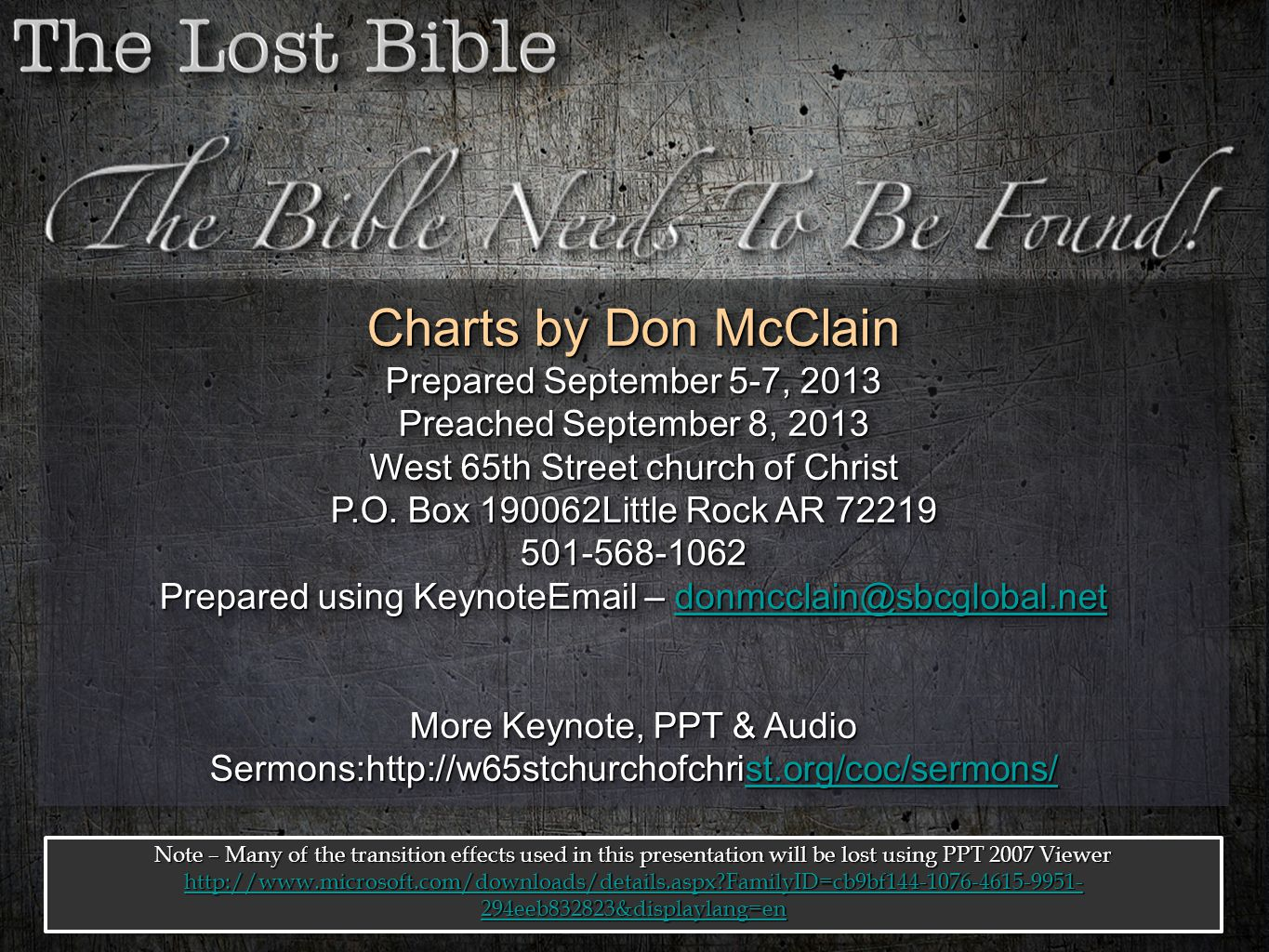 Charts by Don McClain Prepared September 5-7, 2013