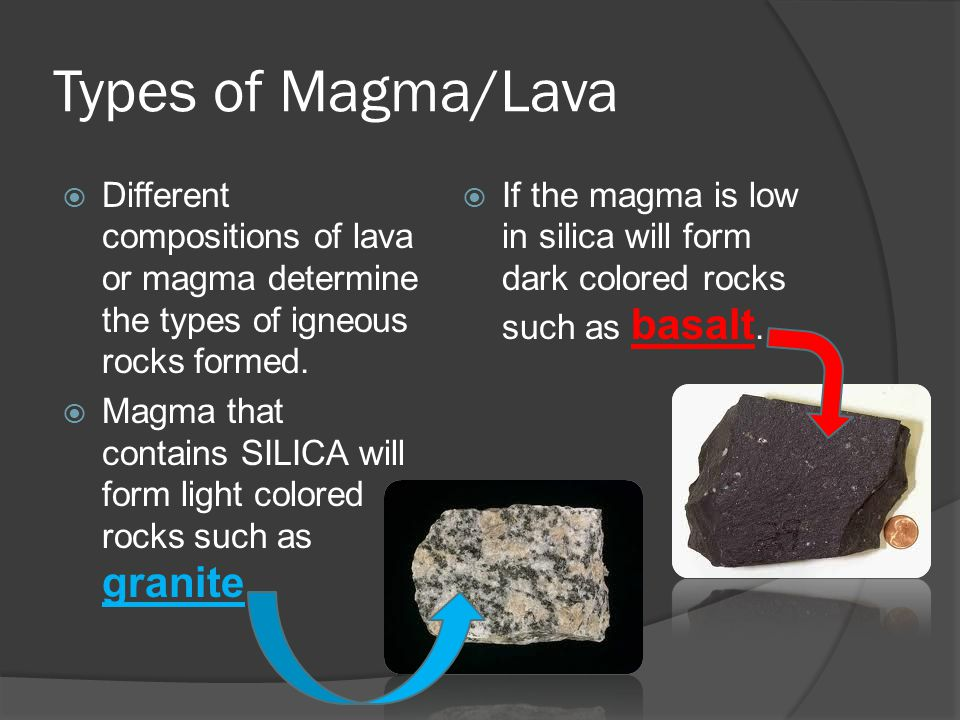 Types of Magma/Lava Different compositions of lava or magma determine the types of igneous rocks formed.
