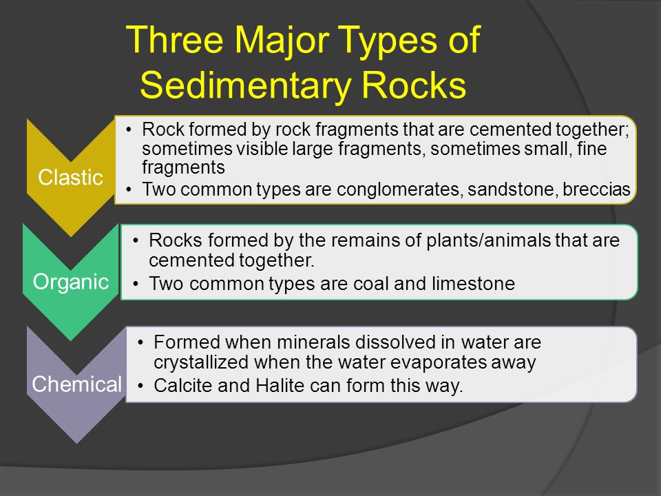 Three Major Types of Sedimentary Rocks