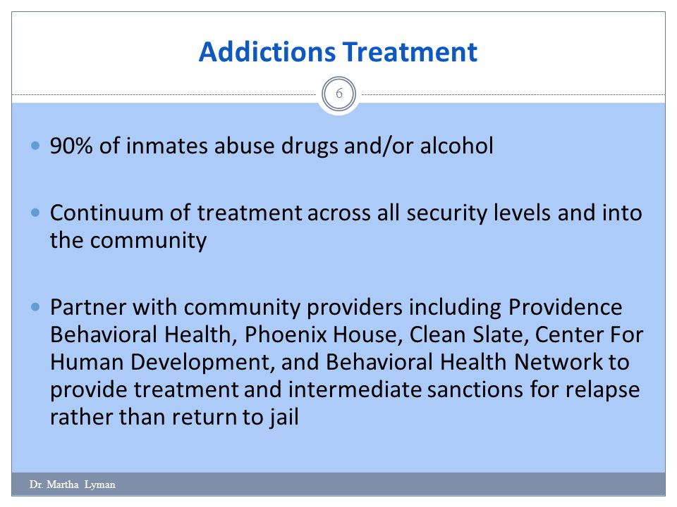 Addictions Treatment 90% of inmates abuse drugs and/or alcohol