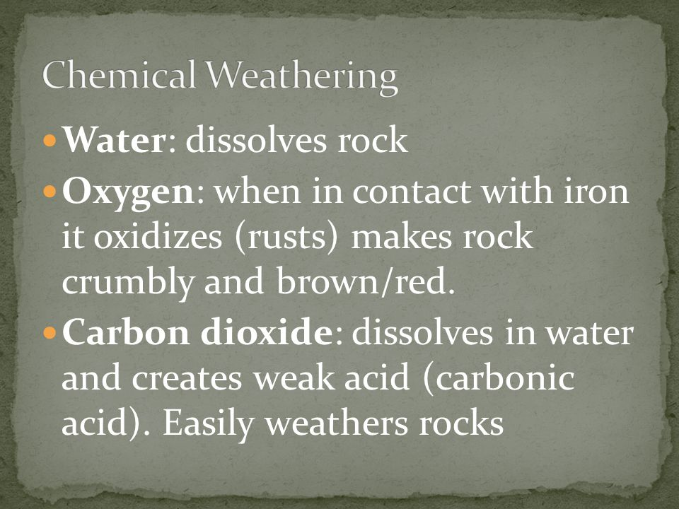 Chemical Weathering Water: dissolves rock