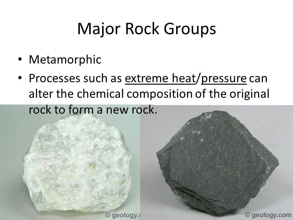 Major Rock Groups Metamorphic