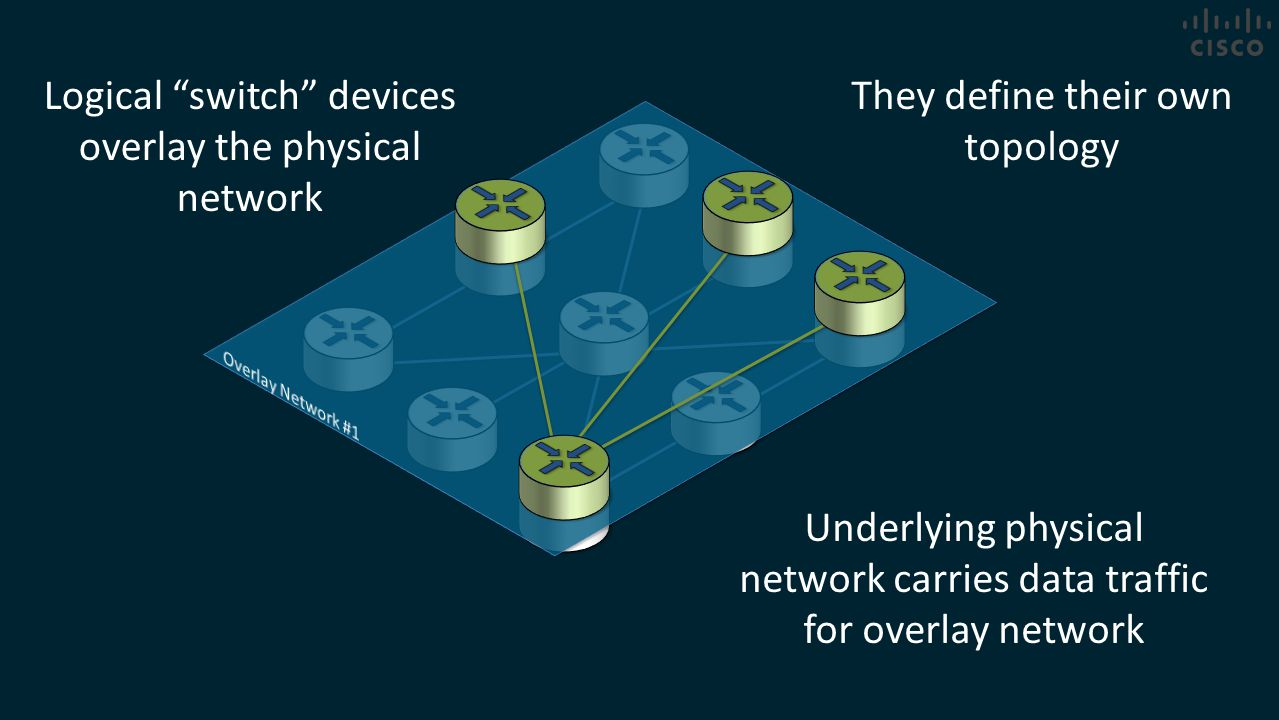 Logical switch devices overlay the physical network