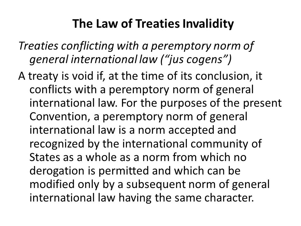 The Law of Treaties Invalidity