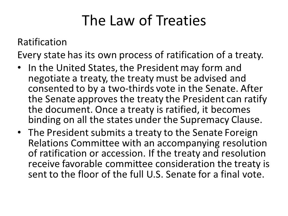The Law of Treaties Ratification