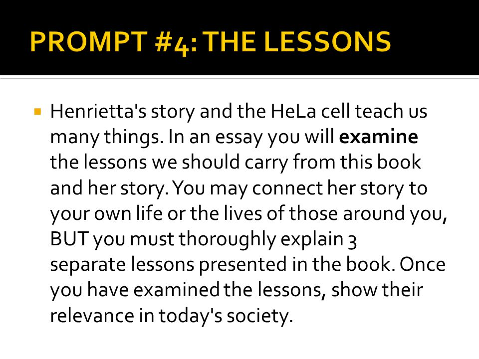 PROMPT #4: THE LESSONS
