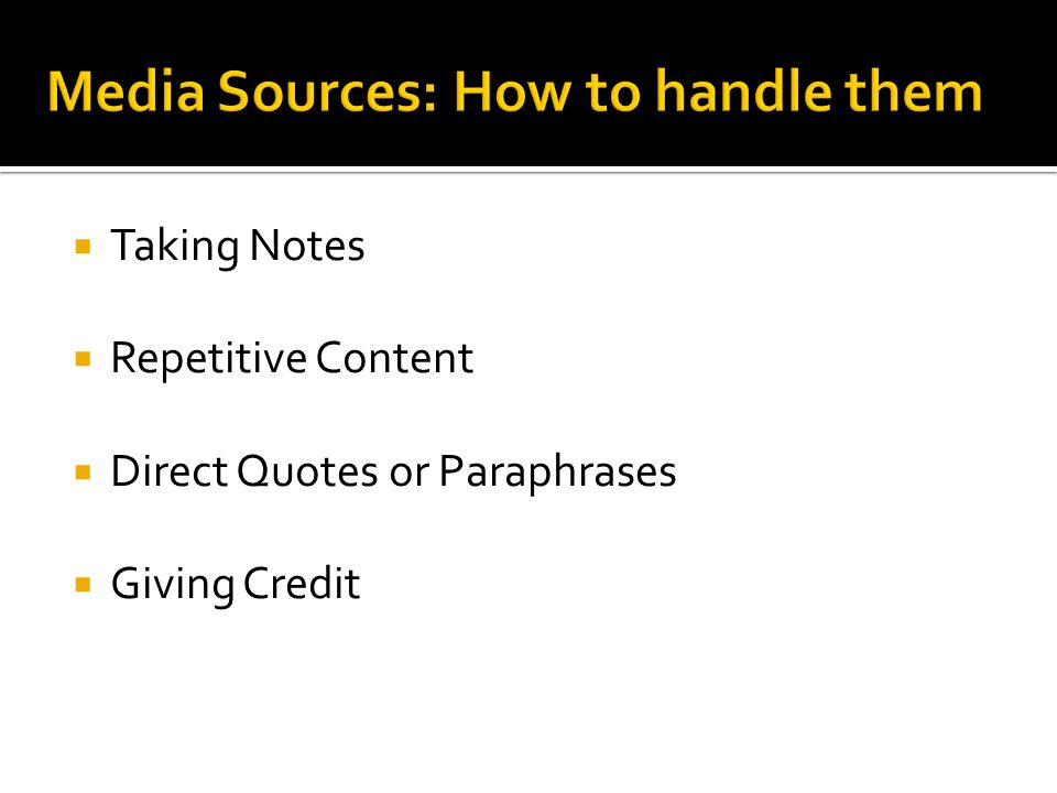 Media Sources: How to handle them