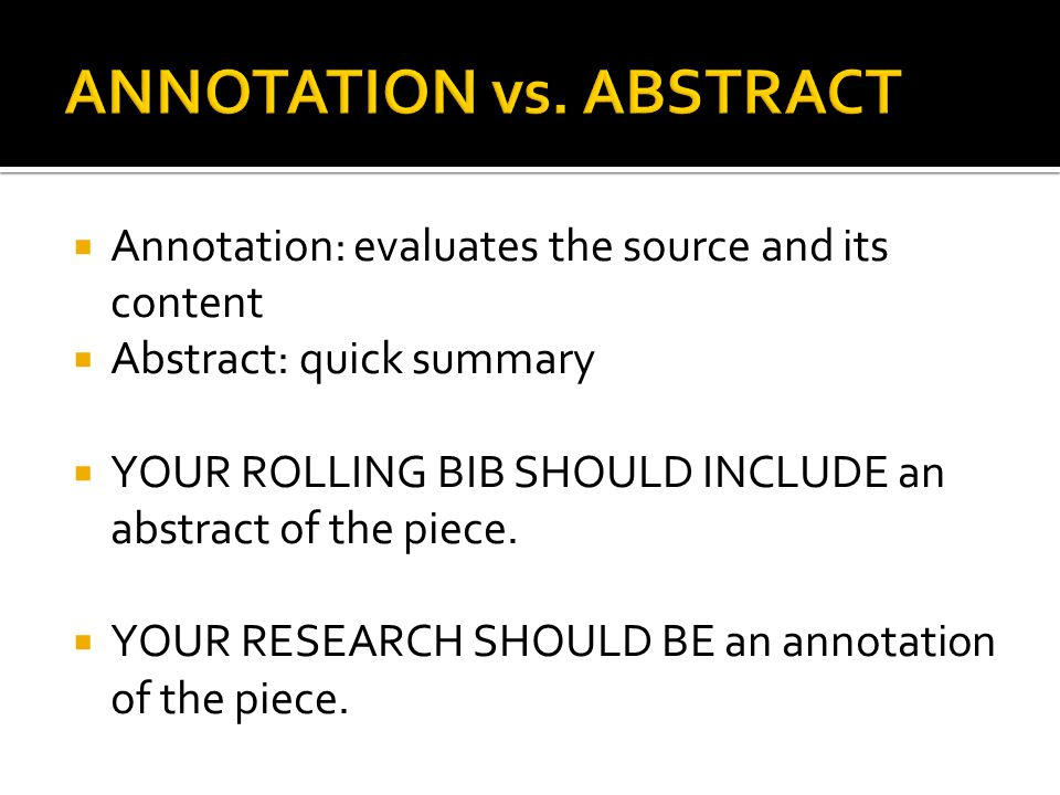 ANNOTATION vs. ABSTRACT