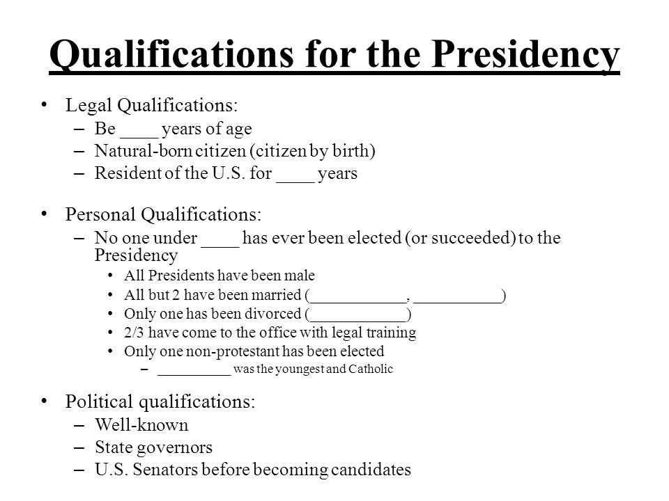 Qualifications for the Presidency