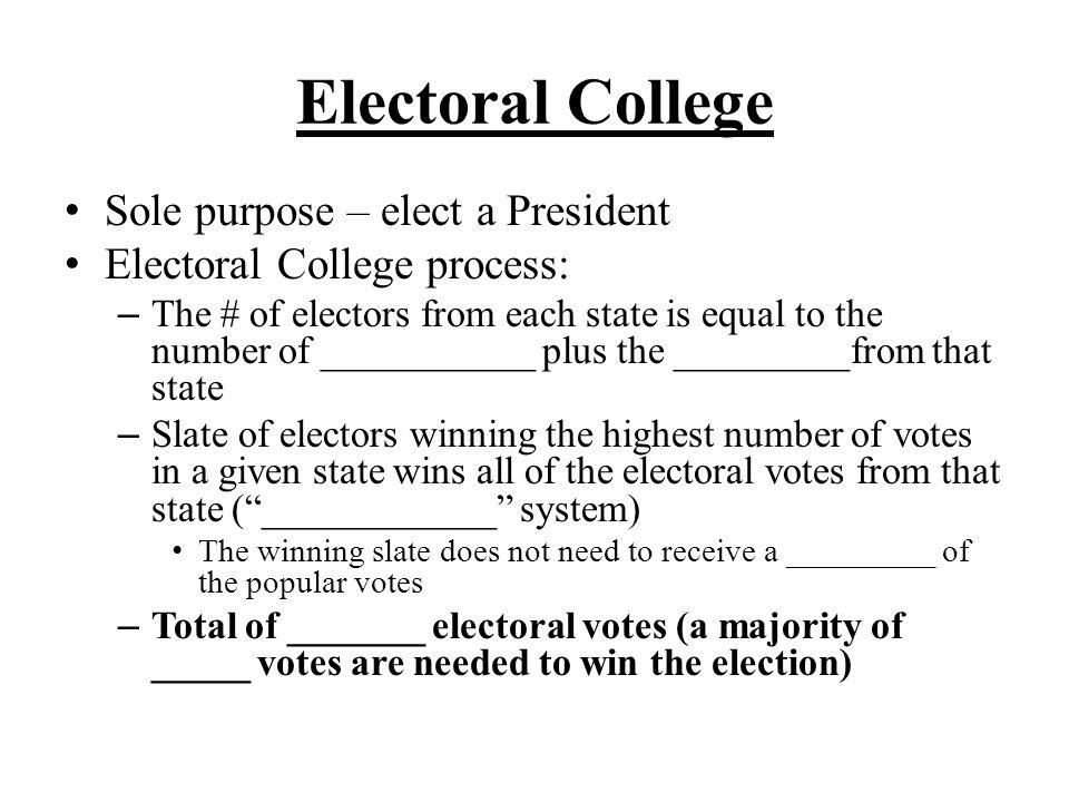Electoral College Sole purpose – elect a President