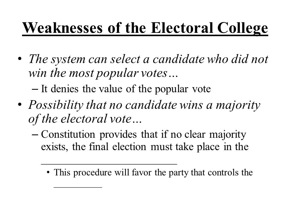 Weaknesses of the Electoral College