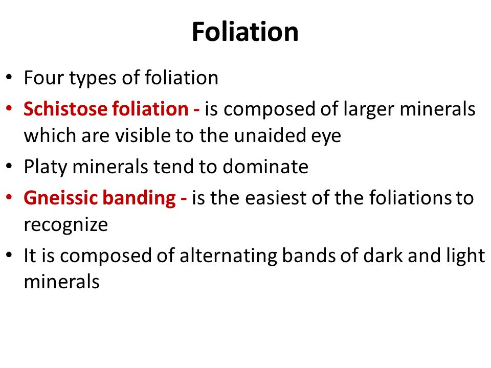 Foliation Four types of foliation
