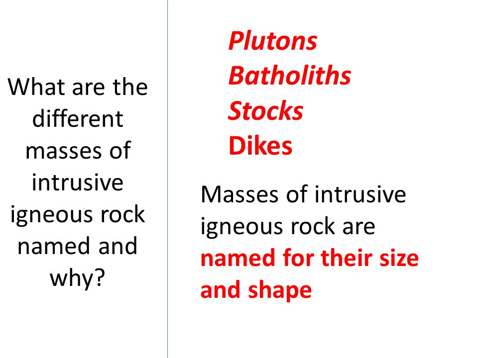 What are the different masses of intrusive igneous rock named and why