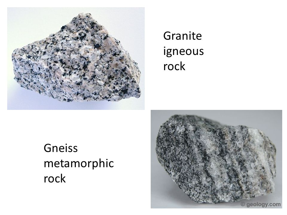 Granite igneous rock Gneiss metamorphic rock