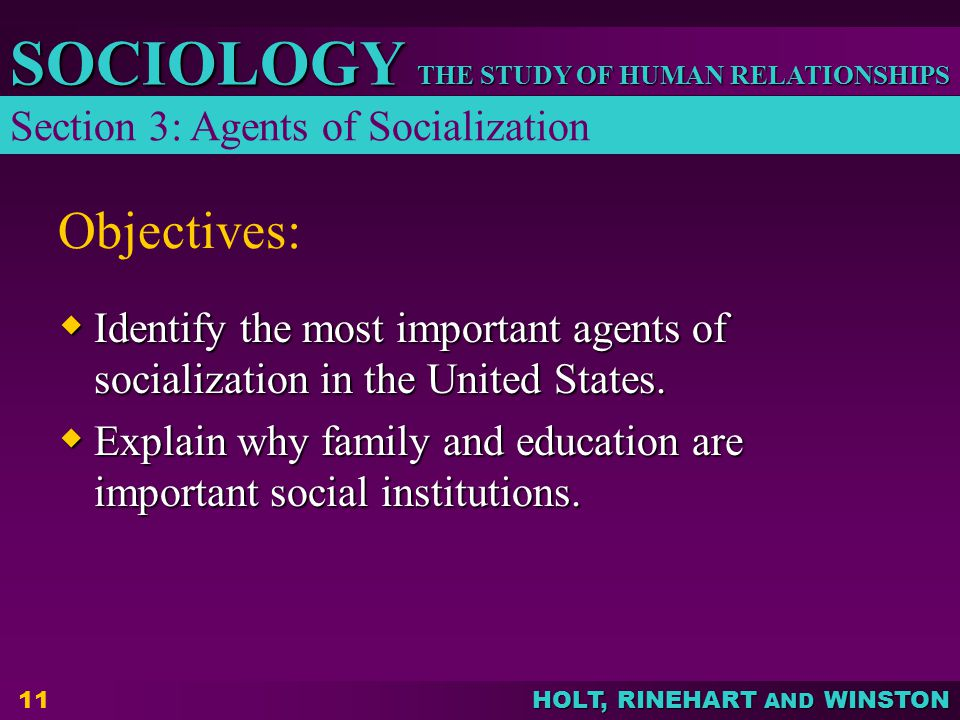 Objectives: Section 3: Agents of Socialization