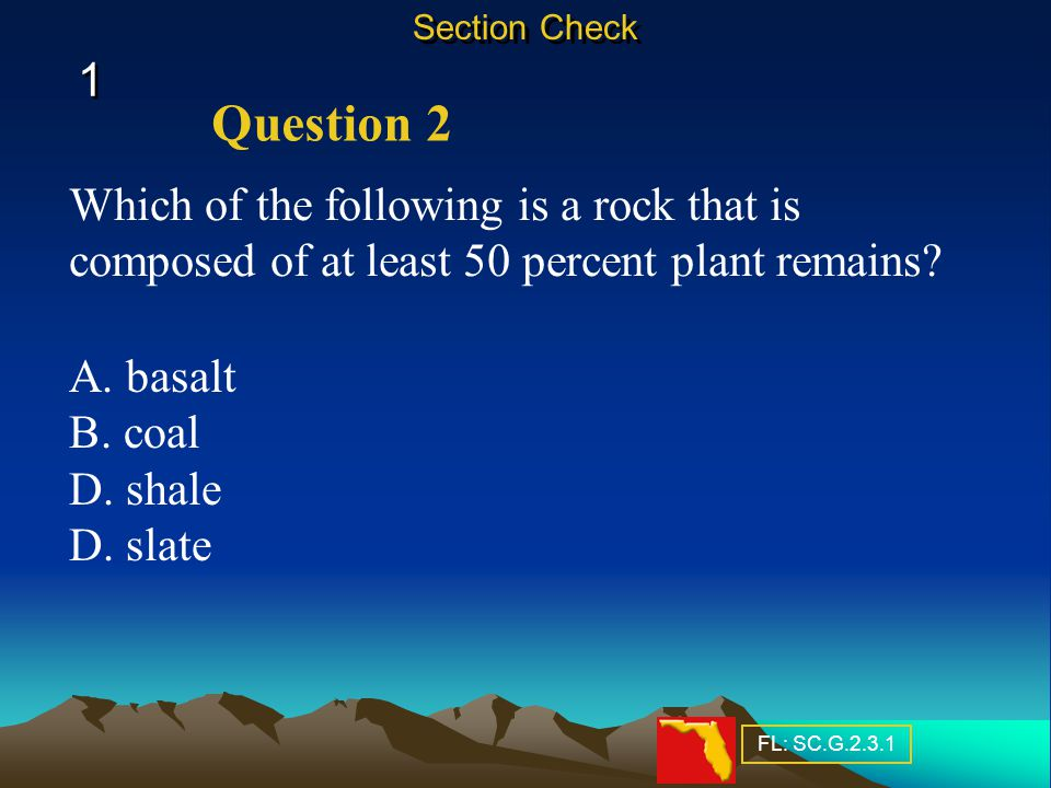 Section Check 1. Question 2. Which of the following is a rock that is composed of at least 50 percent plant remains