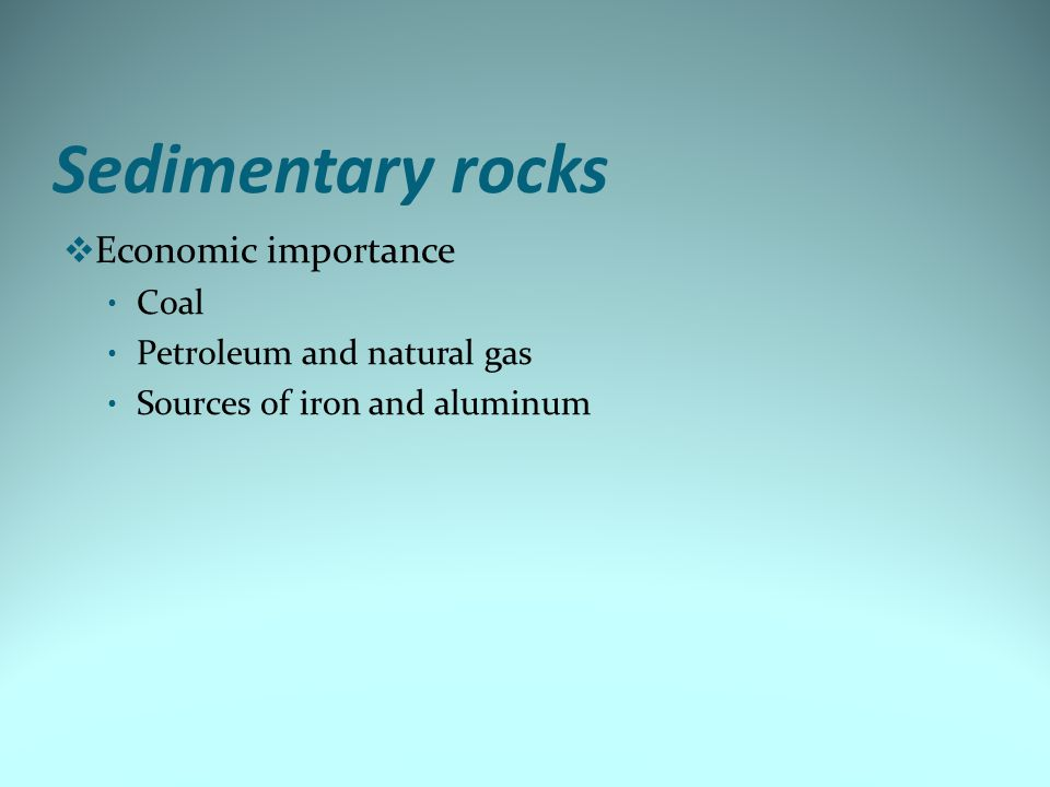 Sedimentary rocks Economic importance Coal Petroleum and natural gas