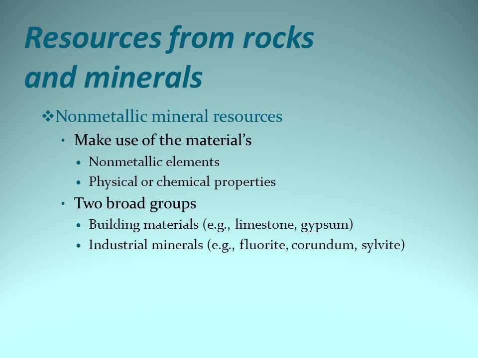Resources from rocks and minerals