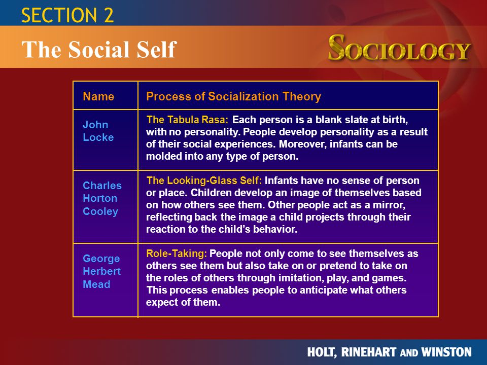 The Social Self SECTION 2 Name Process of Socialization Theory