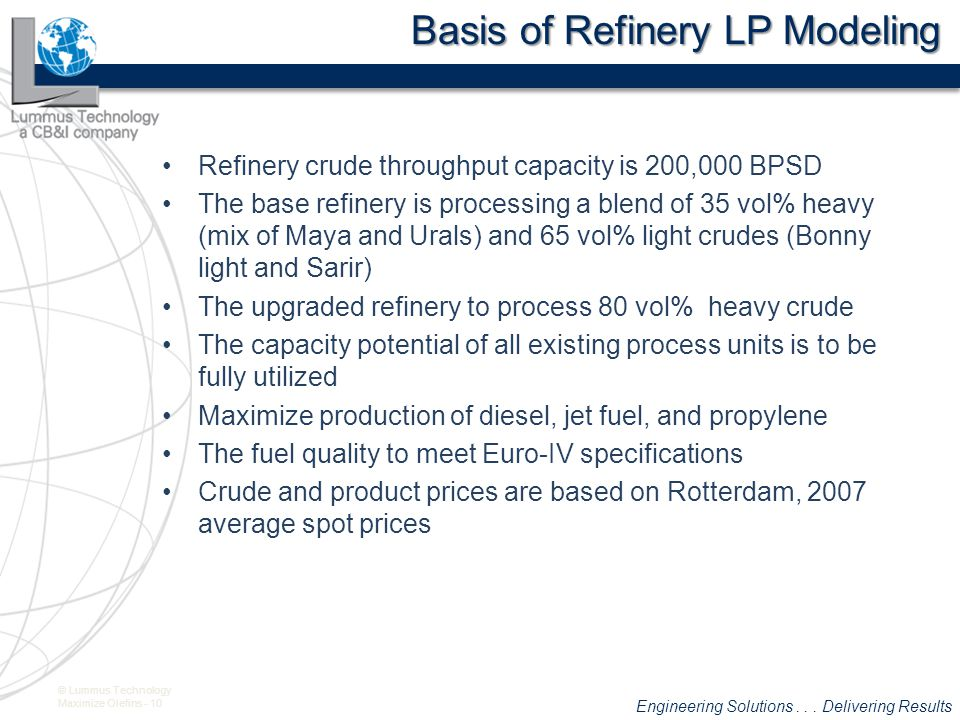 Basis of Refinery LP Modeling