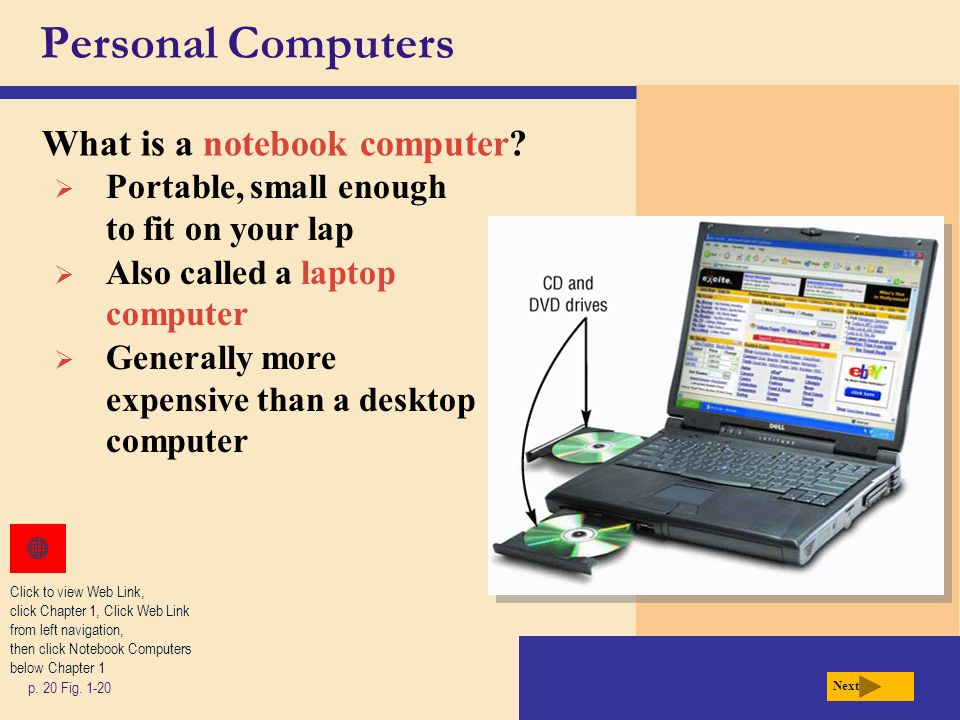 Personal Computers What is a notebook computer