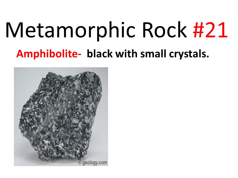 Metamorphic Rock #21 Amphibolite- black with small crystals.