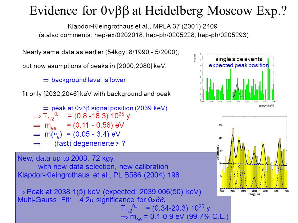 Evidence for 0 at Heidelberg Moscow Exp.