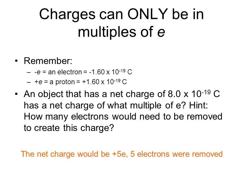 Charges can ONLY be in multiples of e