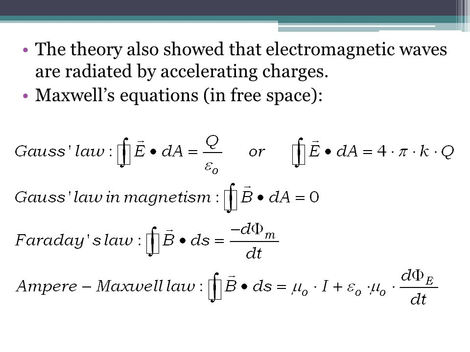 The theory also showed that electromagnetic waves are radiated by accelerating charges.