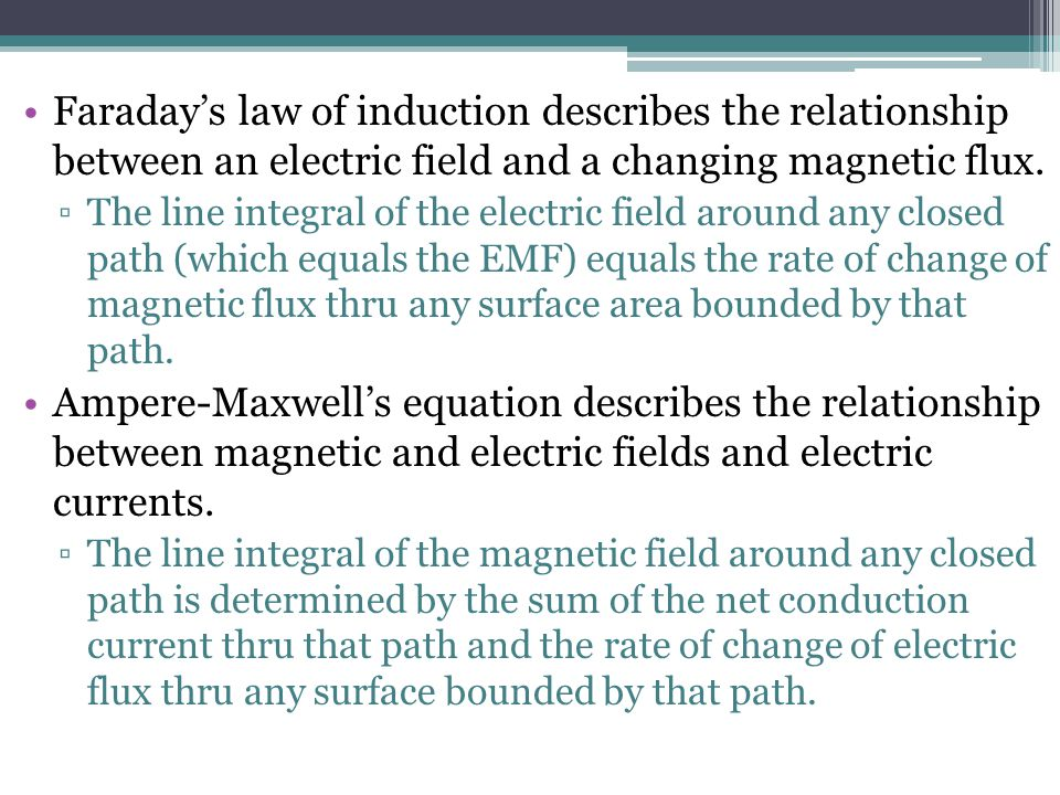 Faraday's law of induction describes the relationship between an electric field and a changing magnetic flux.