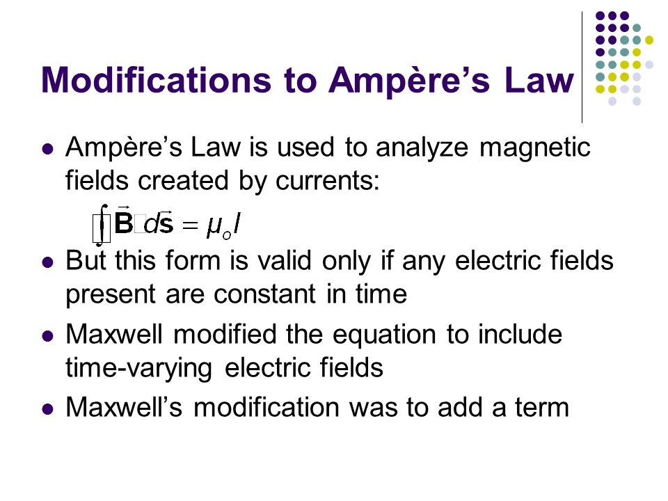 Modifications to Ampère's Law