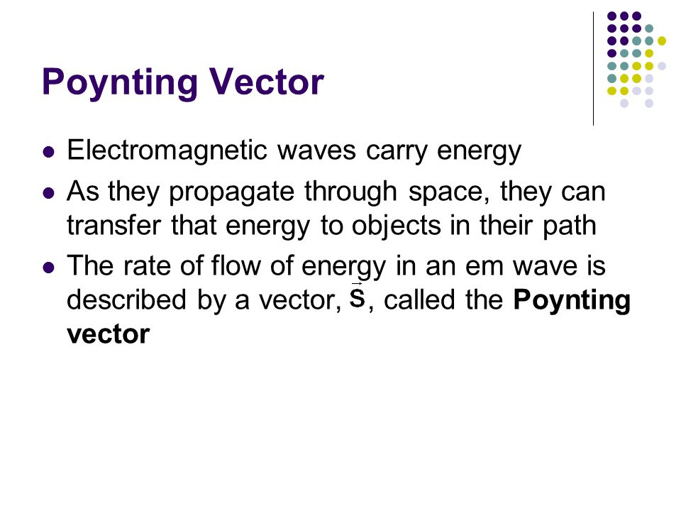 Poynting Vector Electromagnetic waves carry energy