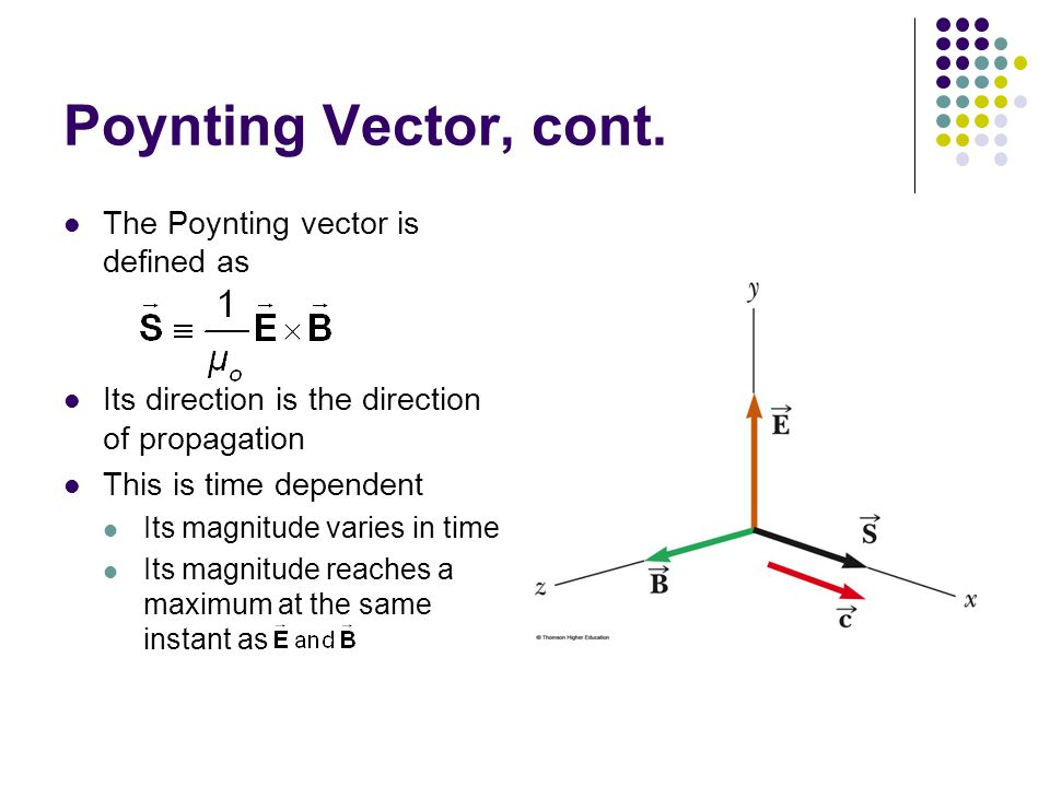 Poynting Vector, cont. The Poynting vector is defined as