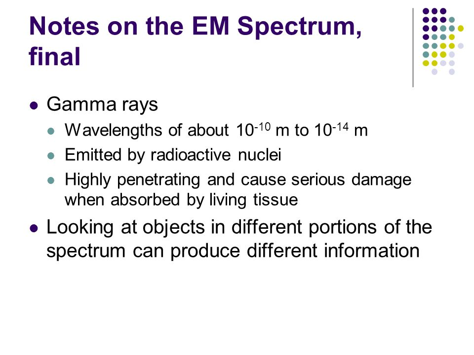 Notes on the EM Spectrum, final