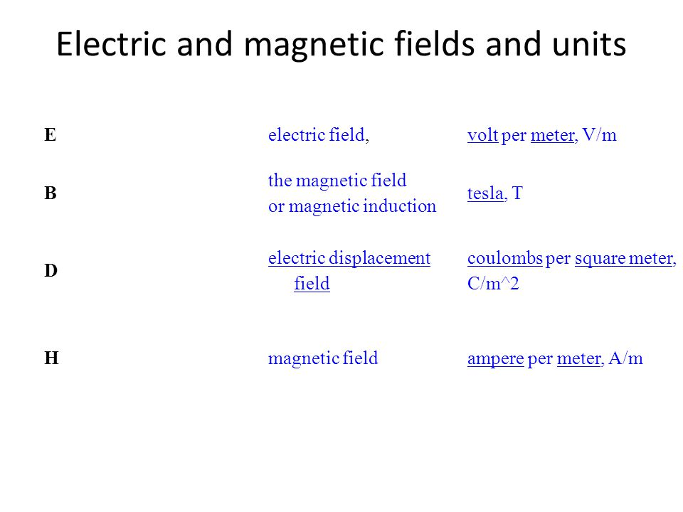 Electric and magnetic fields and units