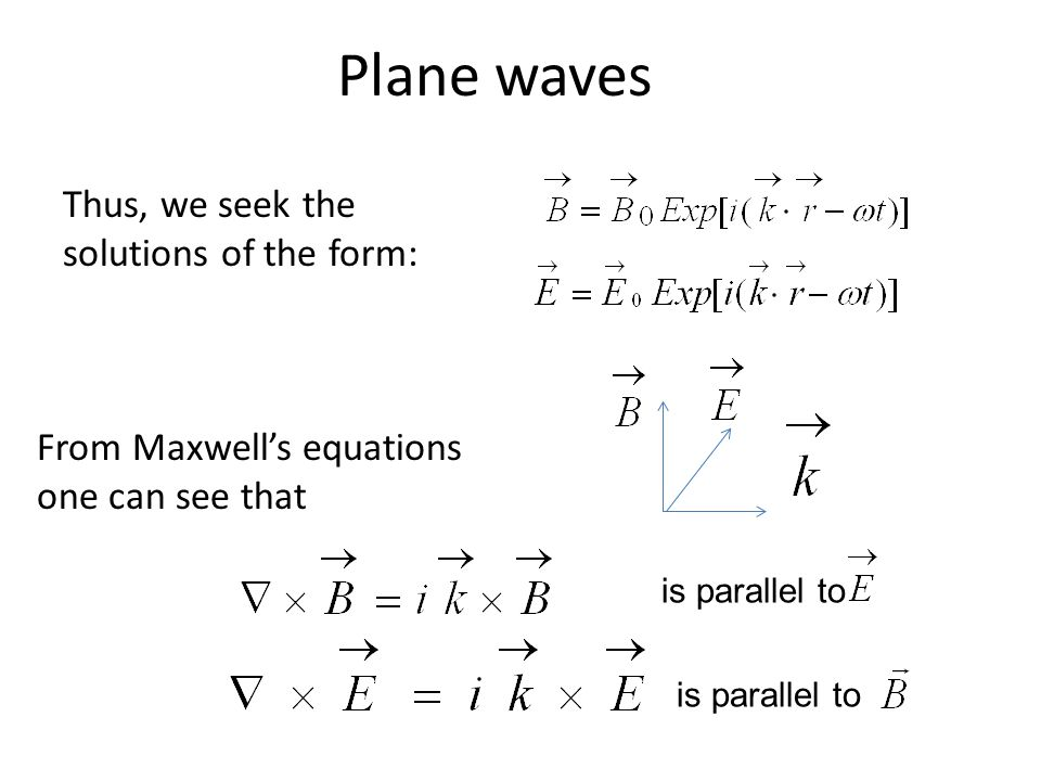 Plane waves Thus, we seek the solutions of the form: