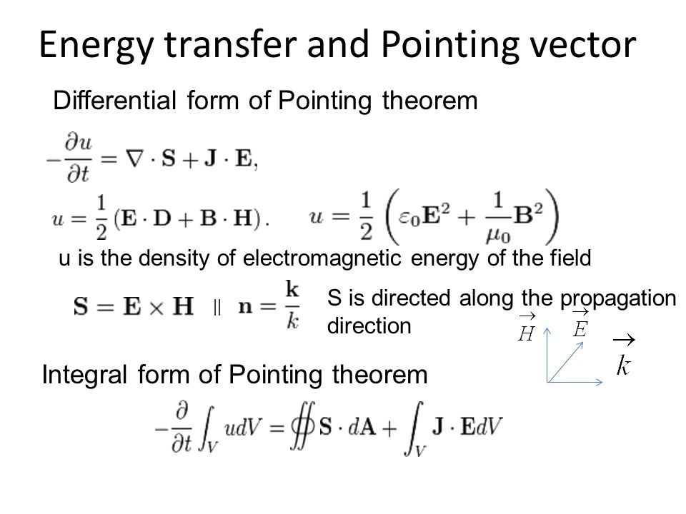 Energy transfer and Pointing vector