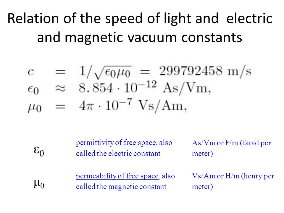 Relation of the speed of light and electric and magnetic vacuum constants