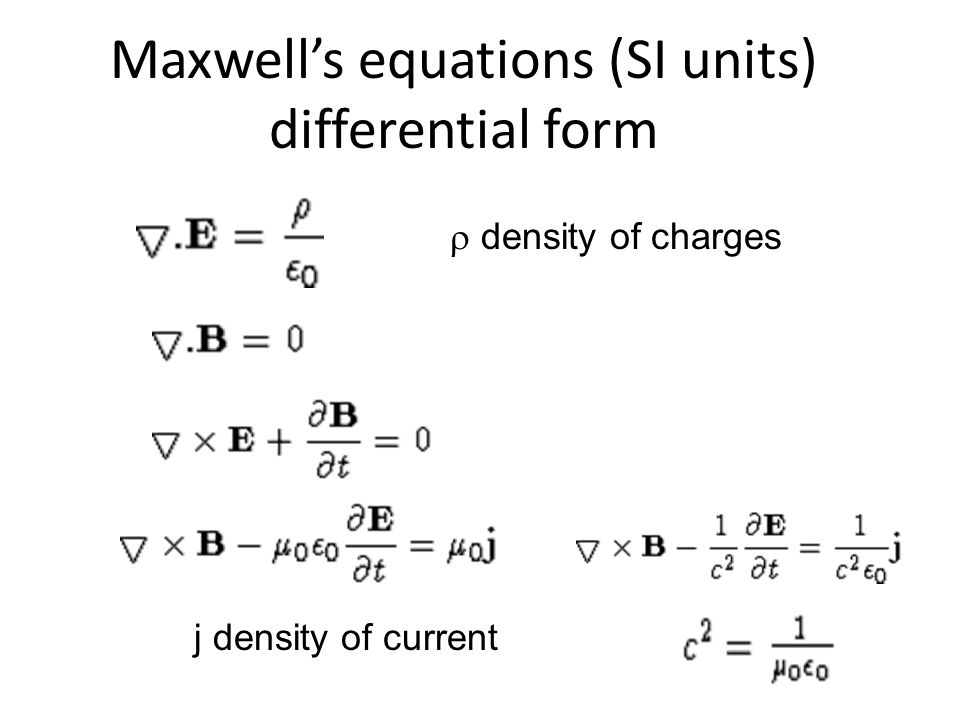 Maxwell's equations (SI units) differential form