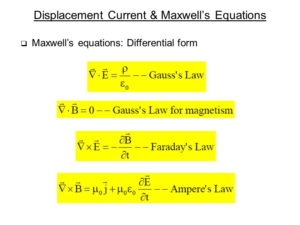 Displacement Current & Maxwell's Equations