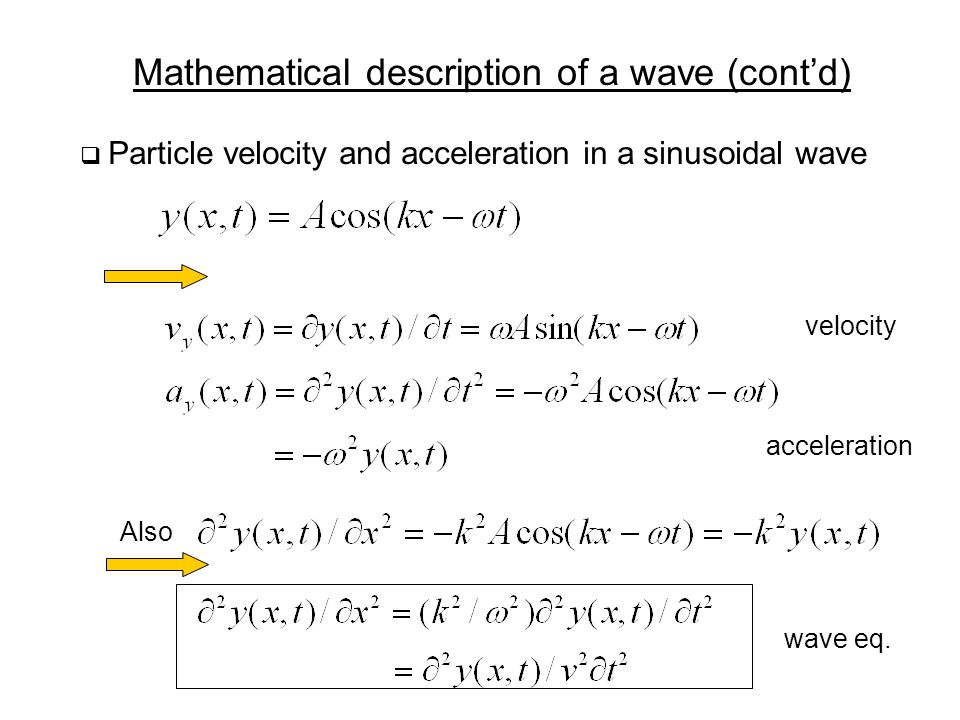 Mathematical description of a wave (cont'd)