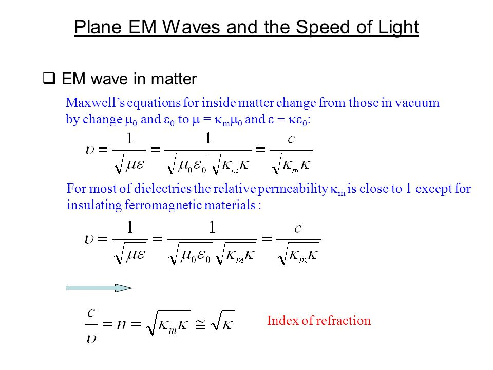 Plane EM Waves and the Speed of Light