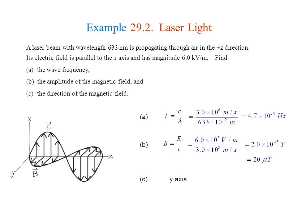 Example 29.2. Laser Light A laser beam with wavelength 633 nm is propagating through air in the +z direction.