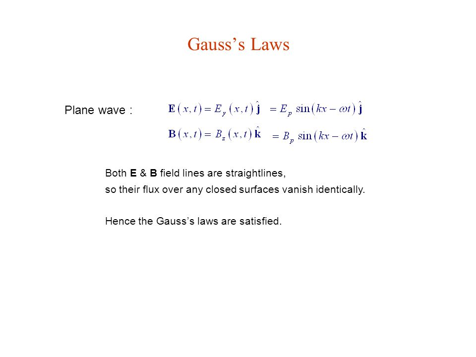 Gauss's Laws Plane wave : Both E & B field lines are straightlines,