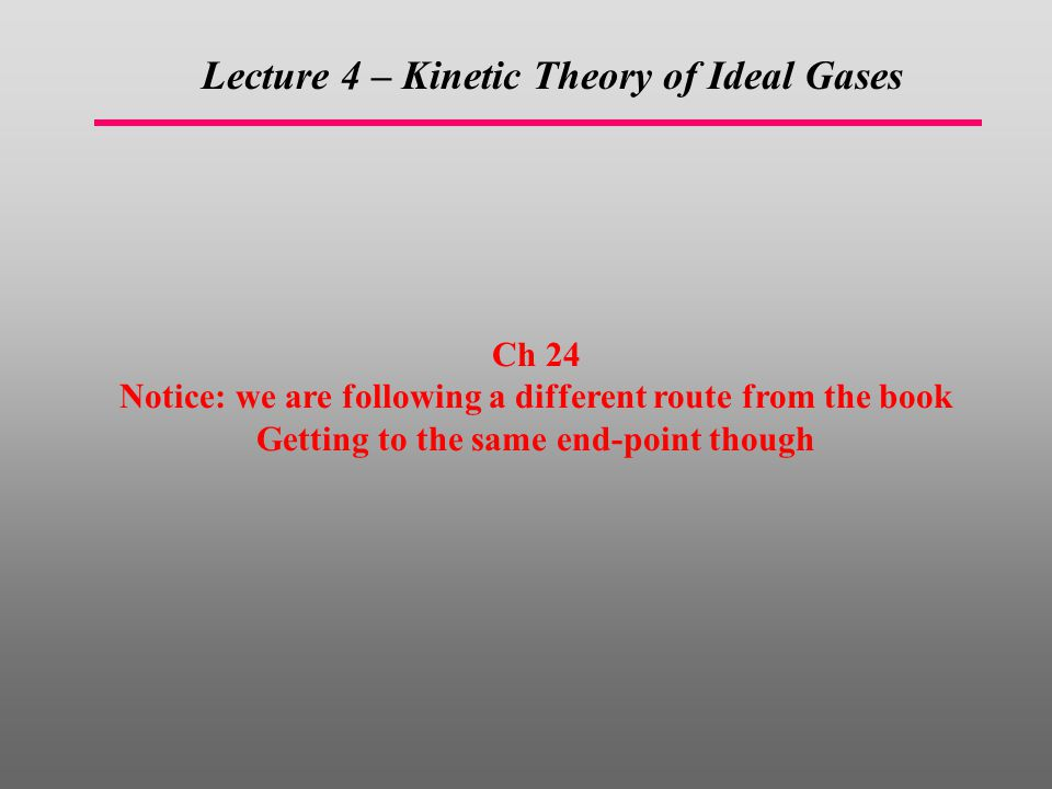 Lecture 4 – Kinetic Theory of Ideal Gases