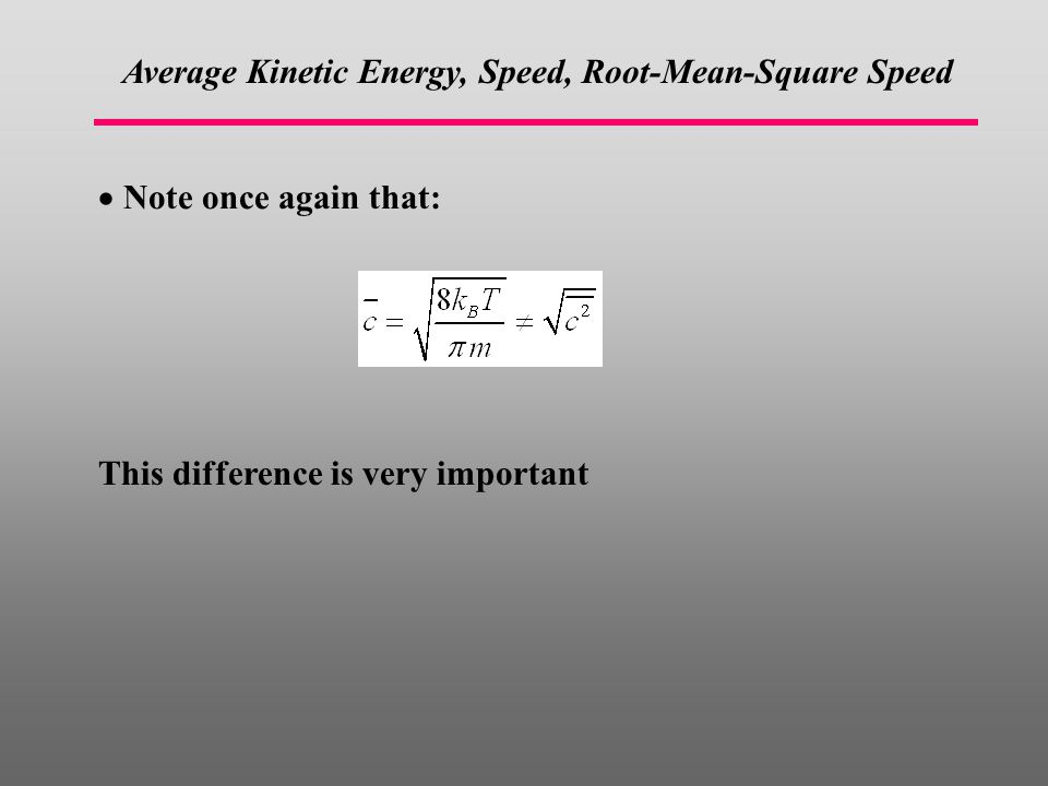 Average Kinetic Energy, Speed, Root-Mean-Square Speed