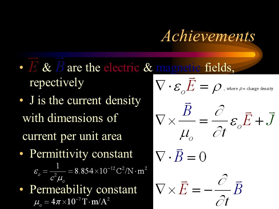 Achievements & are the electric & magnetic fields, repectively