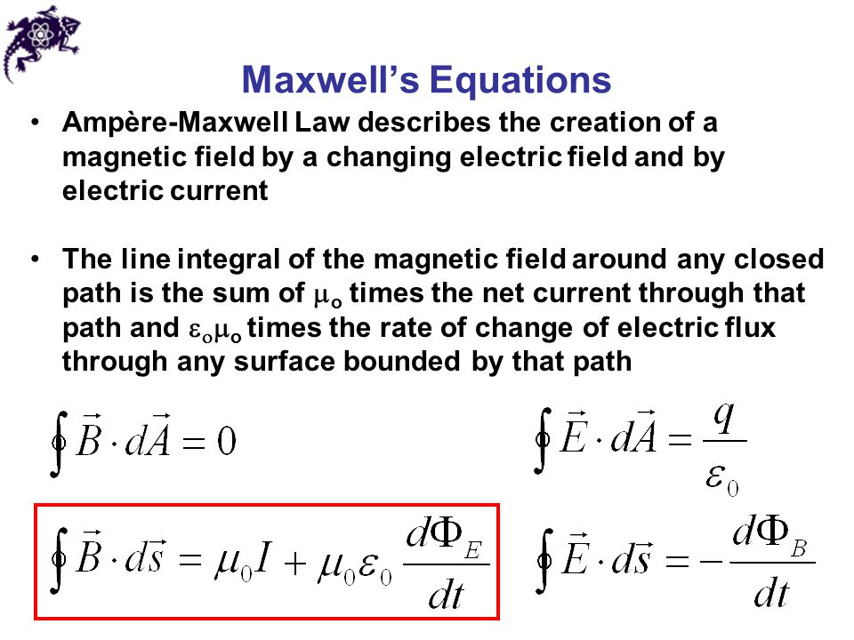 Maxwell's Equations Ampère-Maxwell Law describes the creation of a magnetic field by a changing electric field and by electric current.